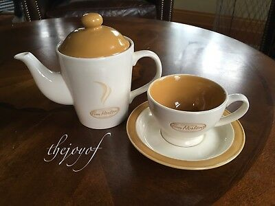 Tim Hortons Coffee Always Fresh Tea Pot / Cup & Saucer Duo