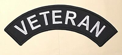 "12"" Veteran Top Rocker Patch. Black On Black. Made In The Usa"