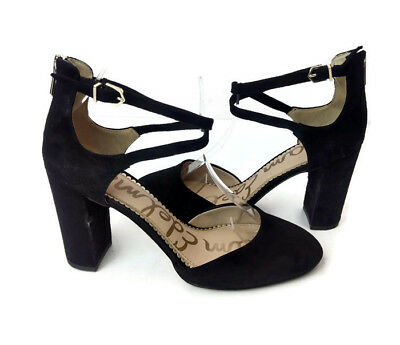 b8579fbfe7b3 Sam Edelman Simmons Women s Black Suede Ankle Strap d Orsay Pumps US ...