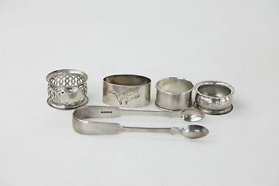 5 x Hallmarked .925 Sterling Silver NAPKIN RINGS & SUGAR TONGS 120g