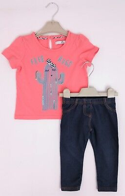 Girls M&S Cactus Hugs T-Shirt & MOTHERCARE Jeggings 12-18 Mths  VGC Comb Postage