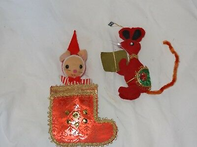 TWO (2) UNIQUE***HAND MADE*** AND RARE vintage JAPANESE xmas ornaments