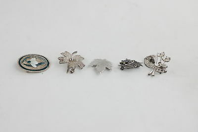 5 Vintage 925 STERLING SILVER FLORAL BROOCHES inc. Beautiful Enamel Snowdrop 25g