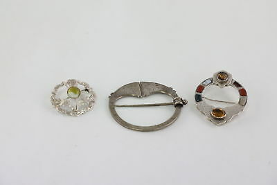 3 Vintage .925 Sterling Silver SCOTTISH BROOCHES inc. Lace Agate, Bloodstone 40g
