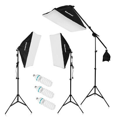 2000W Fotostudio Studioleuchte Set 135W LED Lampe Auto Pop-Up Softbox +Stativ EU