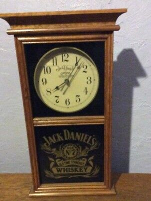 "Jack Daniels Old No. 7 Tennessee Whiskey Oak Wall Clock 19"" x 11"" x 3.5"""