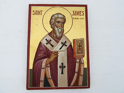 Vintage Saint James Religious Handpainted Wooden Wall Plaque Icon Blessed