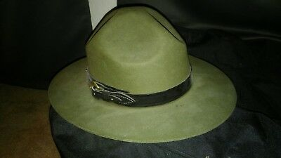 Stratton Campaign Hat with Leather Band & Buckle (Forrest Green, Size 7)