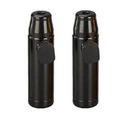 2 x Black Snuff Bullet Dispenser Metal Aluminum Snorter Rocket Box Nasal