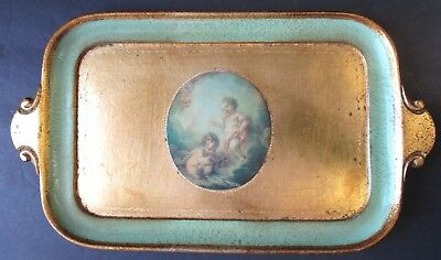 "Vtg Hollywood Regency Florentine Gilt Itay Toleware Tray Gold Green 14"" Cherubs"