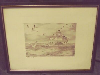 Vintage Thomas Point Lighthouse Chesapeake Bay, MD, John Moll Signed # 148/200