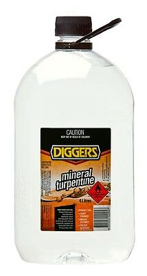 Diggers Mineral Turpentine Turps  4 Litre Paint Thinner Solvent Cleaner Wax