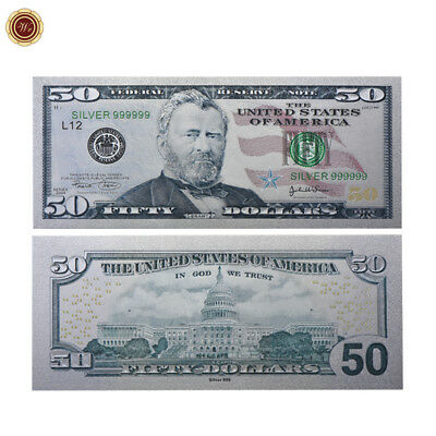 WR New Colored Silver Foil US Banknote $50 American Dollar Money Bill Collection