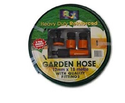 Budget Hose 12mm x 18M Fitted Garden Water Hose Lawn Pipe Flexible Reinforced
