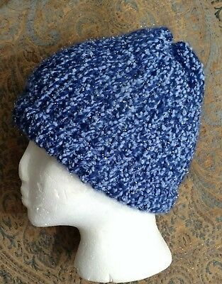 Hand knitted sparkly blue beanie NEW without Tags