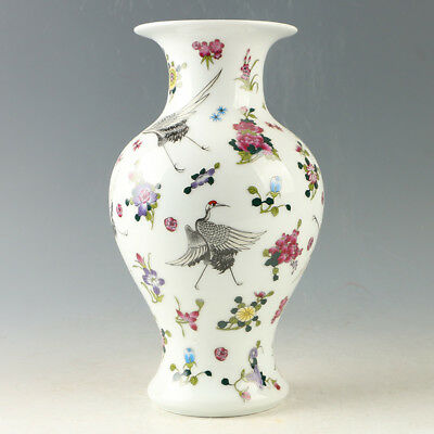 Chinese Porcelain Hand-Painted Red-crowned crane Luminous Vase W Qianlong Mark