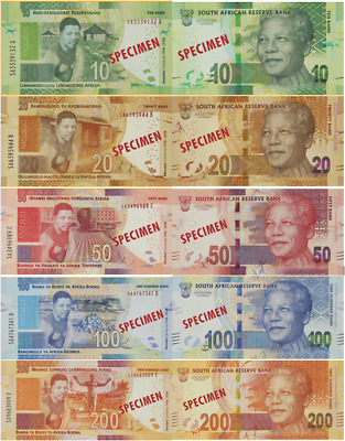 2018 Madiba Commemorative Banknote set - R10 to R200  (genuine notes pic's copy)