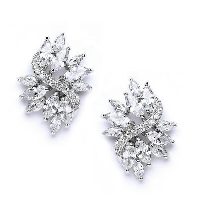 Mariell Platinum Plated CZ Bridal Wedding Earrings with Marquis-Cut CZ Clusters