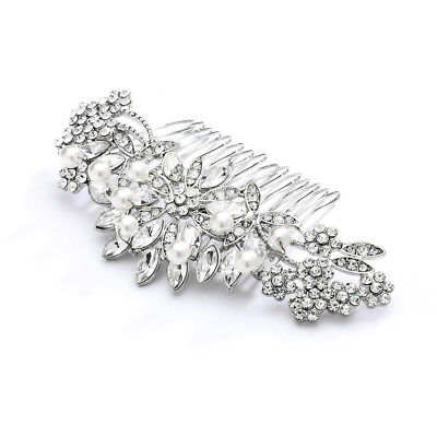 """Mariell 2 1/2"""" Pearl and Crystal Sunburst Wedding, Bridal or Prom Hair Comb"""