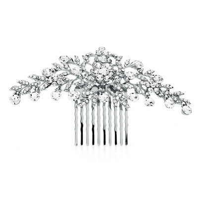 Mariell Silver and Clear Crystal Petals Bridal, Wedding or Prom Hair Comb