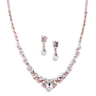 Mariell Blush Rose Gold Crystal Jewelry Set for Wedding, Prom & Bridesmaids