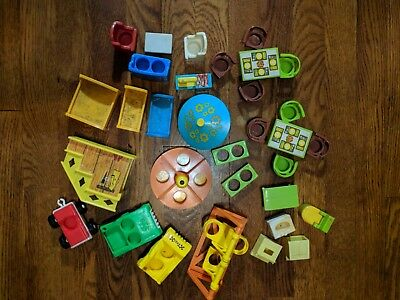 Vintage Little People Accessory Lot Cars Chairs Playground Bathroom Furniture