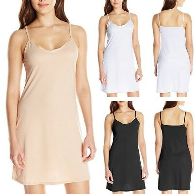 AU6-16 Women Summer Slip Casual V-Neck Slinky Stretch Sleeveless Midi Slim Dress