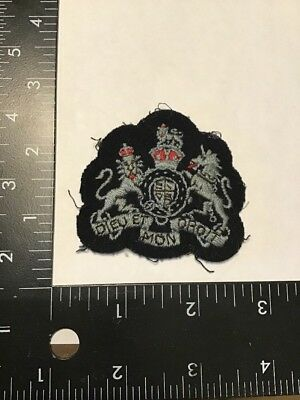 Original WW2 WWII British Army Dieu Et Mon Droit Theater Made Wool Patch