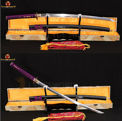 Japanese Katana Samurai Sword Folded Steel Full Tang Clay Tempered Razor Sharp