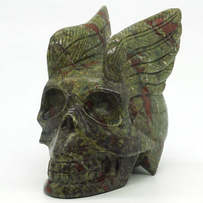 Skull Natural Dragon Bloodstone Wing Carved Crystal Healing Home Decor Halloween
