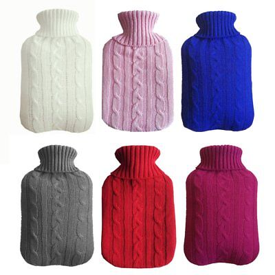 2L Soft Hot Water Bottle Cover Warmer Heat Removable Large knitted Cover TU