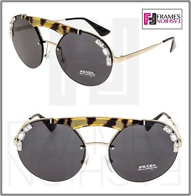 19324ddfaf PRADA ORNATE JEWEL ROUND Brow Bar Sunglasses 52U Palladium Black PR52US  Women