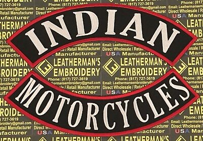 Xl Indian Motorcycles Rocker Patch Set Only. Made In The Usa! Red/white On Black