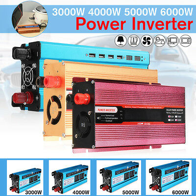 3000/4000/5000/ 6000W LCD Car Power Inverter 12/24V To AC 220V~240V Converter UK