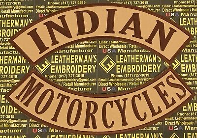 Xl Indian Motorcycles Rocker Patch Set Only. Made In The Usa! Brown On Tan