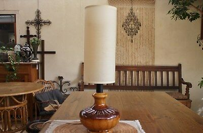 TALL VINTAGE 1970s RETRO MID CENTURY MODERN POTTERY TABLE LAMP & PAPER SHADE