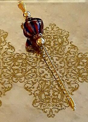 Vintage Venetian Glass Hat Pin, Hand Crafted