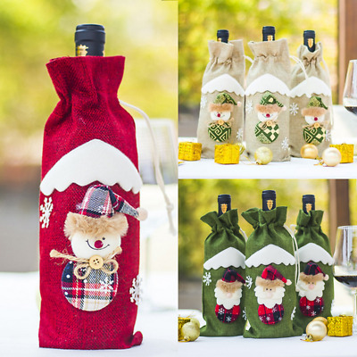 Christmas Santa Wine Bottle Gift Bag Ornaments Cover Xmas Home Party Decor Gift