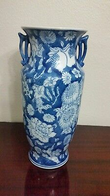 Chinese Blue and white porcelain Floral Ornaments Jar Vintage