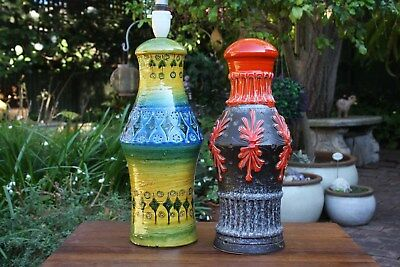 2 Large Vintage Mid Century Modern Red Riminy Blue Bitossi Italian Pottery Lamps
