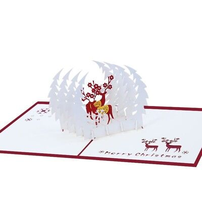US 3D Pop Up Paper Card  Christmas Xmas Greeting Holiday Birthday Gifts