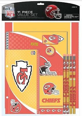NFL Kansas City Cheifs 11pc School Stationary Set Team Logo Study Value Kit