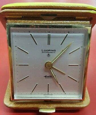 Antique. Looping Galli Swiss travel alarm clock. Works and keeps perfect time.