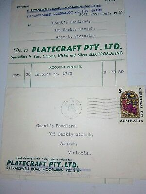 PLATECRAFT Pty Ltd invoice and envelope