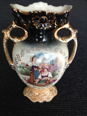 Antique vase with Village Scene (Mantle Urn Style with 2 Handles)