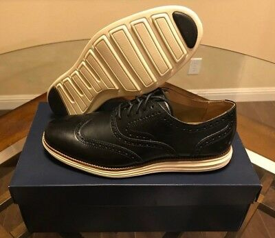 Cole Haan OriginalGrand OS Wing II Black Leather and Ivory C21140 Sz 7.5