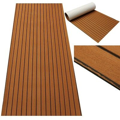 AU 2.44m Teak Decking Sheet EVA Foam Boat Yacht Synthetic Dark Marine Black Line