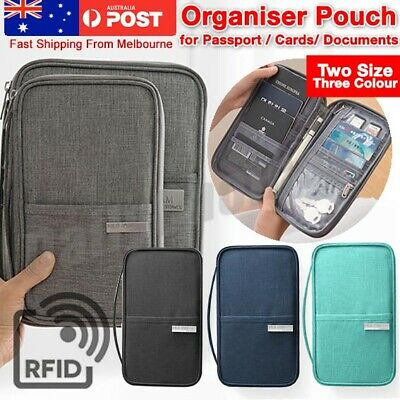 Passport Holder Travel Wallet RFID Organiser Pouch for Cards Documents Money AU
