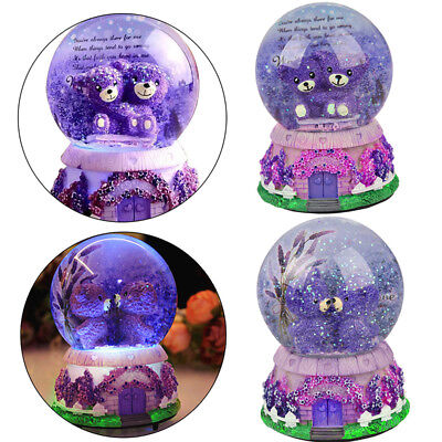Musical Snow Globe Glitter Dream House Bear Water Ball Xmas Gift Box LED Light