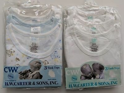 Size: 00 - Blue & White 3 Pack of Tank Tops x 2